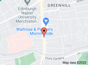 Google map showing location of Margaret King Jewellery 217 Morningside Road Edinburgh