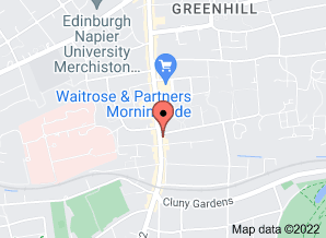 Google map showing location of Rifkind & Brophy Optometrists 247 Morningside Road Edinburgh