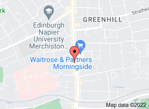 Google map showing location of The Merlin at 168 Morningside Road